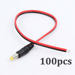 100x-Male-DC-Power-Socket-Jack-Connector-Cable-Plug-Wire-5-5x2-1mm-For-CCTV-LED