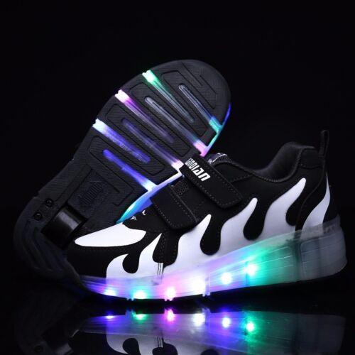 2019 LED Wheels Boys Girls Shoes Skates Kids Light Up Roller Skate Trainers UK