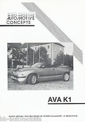 Ava K1 Roadster Prospekt 1994 Brochure Autoprospekt Broschyr Brosjyre 1 Blatt FüR Schnellen Versand
