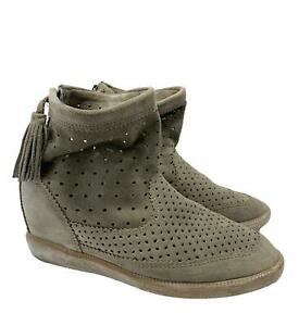 ISABEL MARANT 'BESLAY' GRAY SUEDE CUT OUT WEDGE BOOTIES, 38, $700