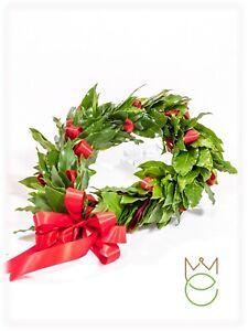 Coroncina Corona di Alloro Laurea con Bacche, Rose Stabilizzate PROMOZIONE