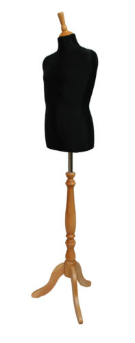 DELUXE Childs 10//12 Dressmakers Dummy Mannequin Tailor BLACK Bust BEECH Stand