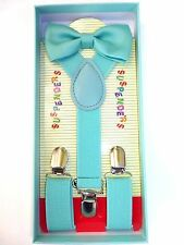 New Baby Toddler Kids Child Teal Mint Green Suspenders Bow Tie Gift Box Set