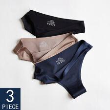 3 Pack Women Ice Silk G-string Briefs Panties Seamless Thongs Underwear Lingerie