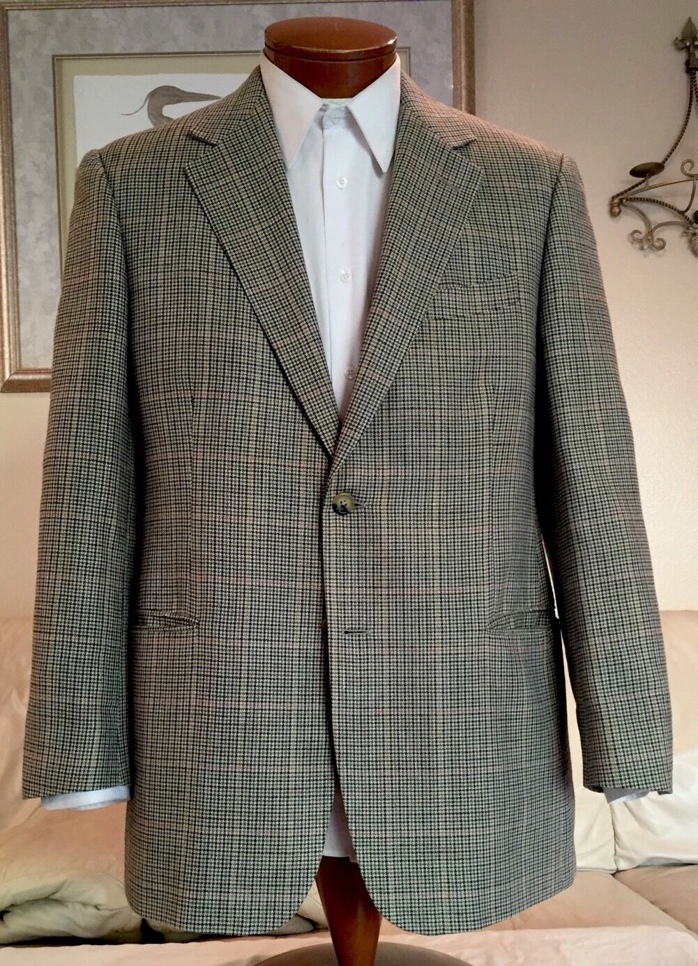Brooks Bredhers Mens Beige Plaid Wool Silk Linen Blazer Sz 42 R  MINT