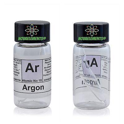 Argon gas element 18 sample LOW PRESSURE mini ampoule inside labeled glass vial