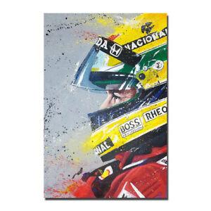 Ayrton Senna Poster F1 Formula Grand Prix Art Canvas Poster 12x18 24x36 inch