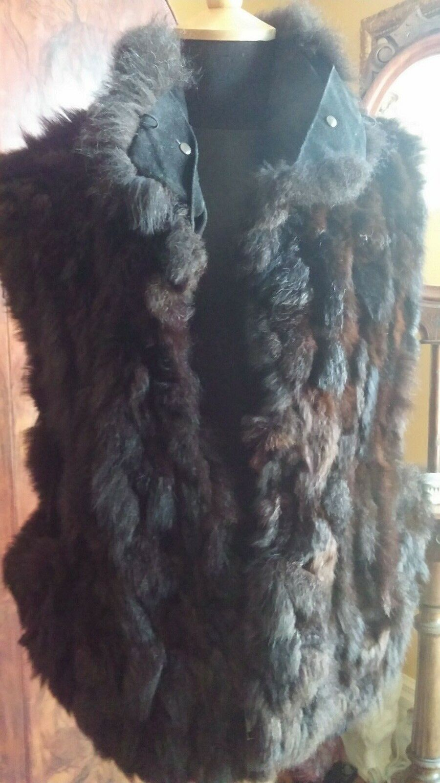 Marc by Andrew Marc Brown Fur Vest size XL