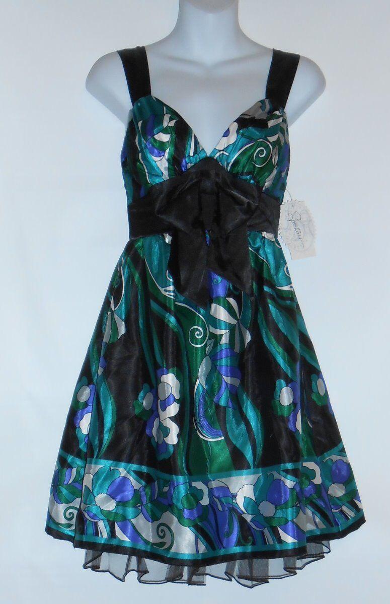 Speechless Junior Empire Waist Satin Dressy Dress bluee & Green Three (3) NWT
