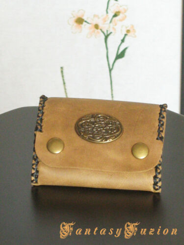 Steampunk Leather Coins Wallet with Celtic Concho Design