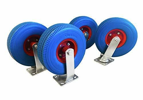 """350 LBS Rated 4-Pack of 10/"""" X-Large Flat Free Casters 2 Swivel and 2 Fixed"""