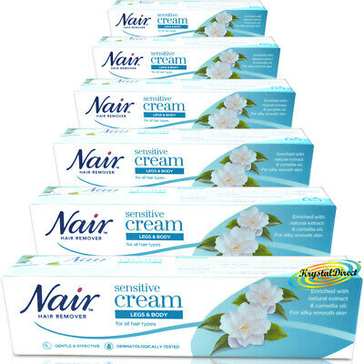 6x Nair Sensitive Hair Removal Cream With Camellia Oil Legs Bikini