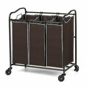 3 Section Heavy Duty Laundry Sorter Movable basket with ...