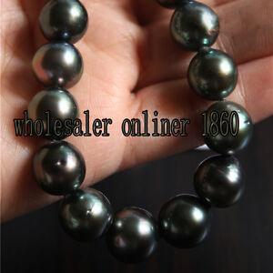 NEW-18-034-8-9MM-TAHITIAN-NATURAL-BLACK-PEARL-NECKLACE-PERFECT-AAA