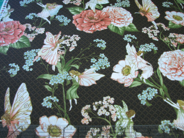 2.4 Yards Cotton Fabric - Hoffman Fairy Briar Fairies and Flowers Brown Met