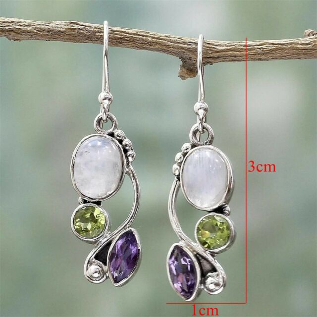 POP! Women Natural Rainbow Moonstone Amethyst Dangle Hook Earrings Wedding