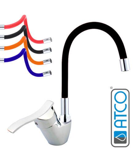 Niederdruck Spültischarmatur Küchenarmatur flexibel Wasserhahn Armatur schwarz
