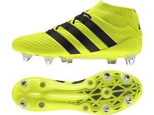 Dettagli su Scarpe da calcio uomo Adidas Ace 16.1 Primeknit SG AQ3458 giallo fluo nero