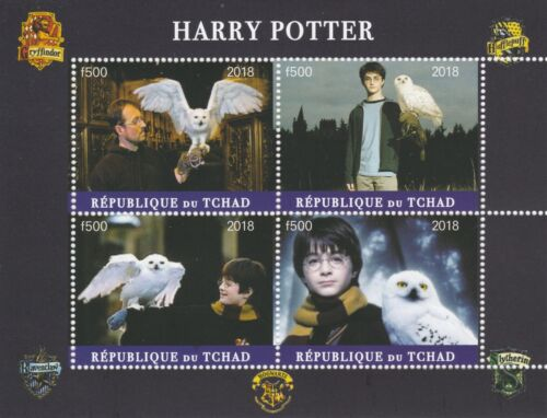 Chad 7576 2018 Harry Potter perf sheet of 4 values unmounted mint