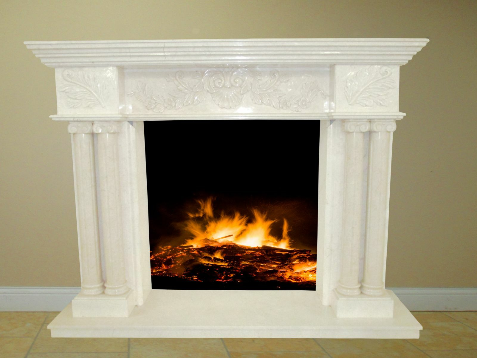 Creamy White Fireplace Surround Mantel Marble Living Room Family Room Fps 06 For Sale Online