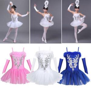 3204e07707fa Image is loading Girls-Sequin-Ballet-Dance-Leotard-Ballerina-Tutu-Dress-