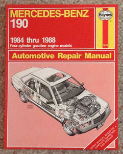 Haynes-Automotive-Repair-Manual-Mercedes-Benz-190-1984-1988-4-cyl-gas-engine
