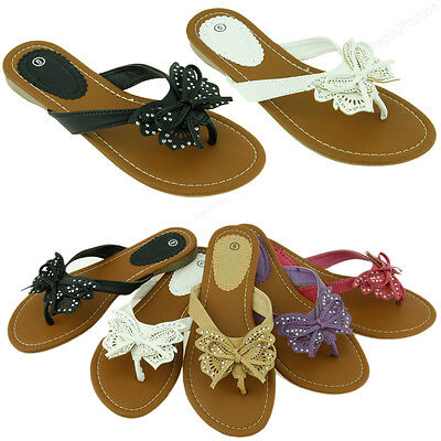 e8fda3316e26 Womens Fashion Flip Flop Sandals Cute Butterfly Flower Thongs Flats Sandal  Style
