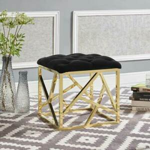 Peachy Details About Modern Design Tufted Ottoman W Gold Stainless Steel Finish Black Fabric Seat Customarchery Wood Chair Design Ideas Customarcherynet