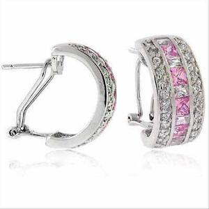 925-Silver-Pink-and-White-CZ-Half-Hoop-Earrings