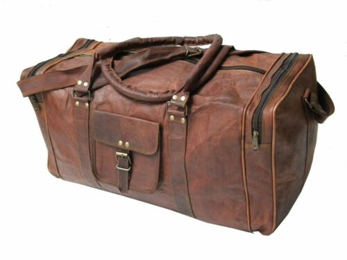 Men Retro Leather Outdoor Gym Duffel Bag Travel Weekender Overnight Luggage