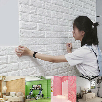 10Pcs 77cm DIY Self Adhesive 3D Wall Stickers Foam Brick Wallpaper Room Decor