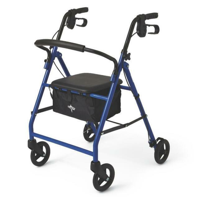 Medline MDS86850EBS8 Basic Steel Rollator - Blue