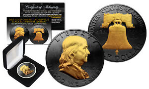 1963-BLACK-RUTHENIUM-Ben-Franklin-Half-Dollar-Coin-w-24K-GOLD-features-2-Sided
