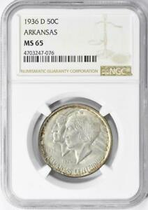 1936-D-Arkansas-Commemorative-Silver-Half-Dollar-NGC-MS-65-Mint-State-65