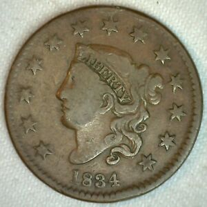 1834-Coronet-Head-US-Large-Cent-Copper-Coin-Fine-Grade-1c-US-Penny-Coin