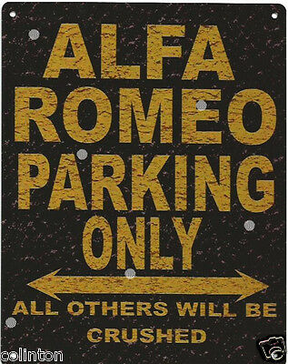 ALFA ROMEO PARKING METAL SIGN RUSTIC VINTAGE STYLE 8x10in 20x25cm garage