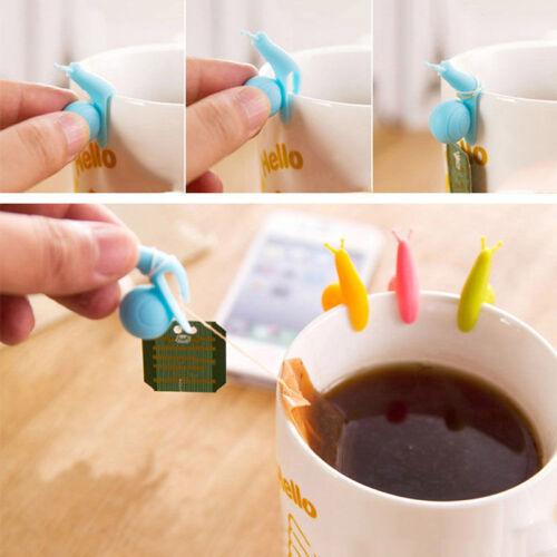 5x Nette Schnecke Form Silikon Teebeutel Halter Tasse Becher Bonbonfarben B8