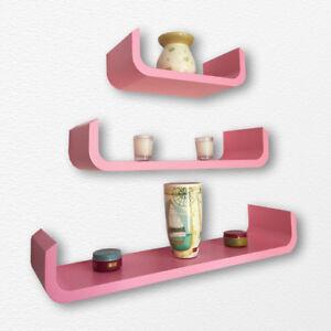 finest selection edf66 c63f1 Details about Set of 3 U Shaped Wall Shelving Pink Floating Shelves Storage  Decor Display Unit