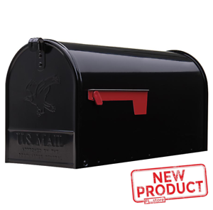 Large Post Mount Mailbox Metal Galvanized Rural House Mail Box Steel Black NEW