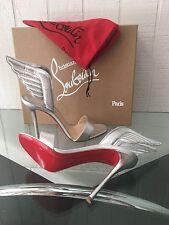 NIB AUTH Christian Louboutin Samotresse 100 Silver  Wing Sandal Heel Shoes sz 39