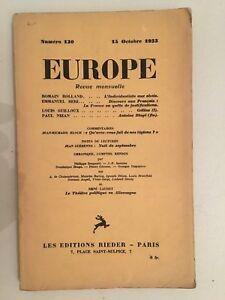 Europa Revista Mensual Las Ediciones Rieder N º 130 15 Octubre 1933