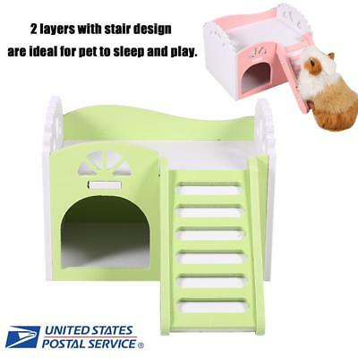 Pet Hamster Rat Guinea Pig Small Animal Castle Sleeping House Nest Exercise Toy 2 Layers with Stair Design 3 Colors