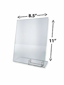 100 clear 85x11 display sign holder w business card holder image is loading 100 clear 8 5x11 display sign holder w reheart Gallery