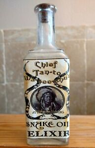 Vintage-Medicine-Hand-Crafted-Bottle-Chief-Tan-To-Snake-Oil-Elixir