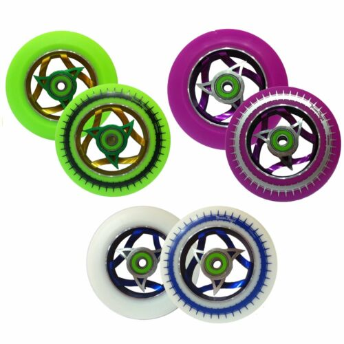 Ninja Style Alloy Core Stunt Scooter Wheels 110mm 88A PU Rubber Rim ABEC9 ABEC 9
