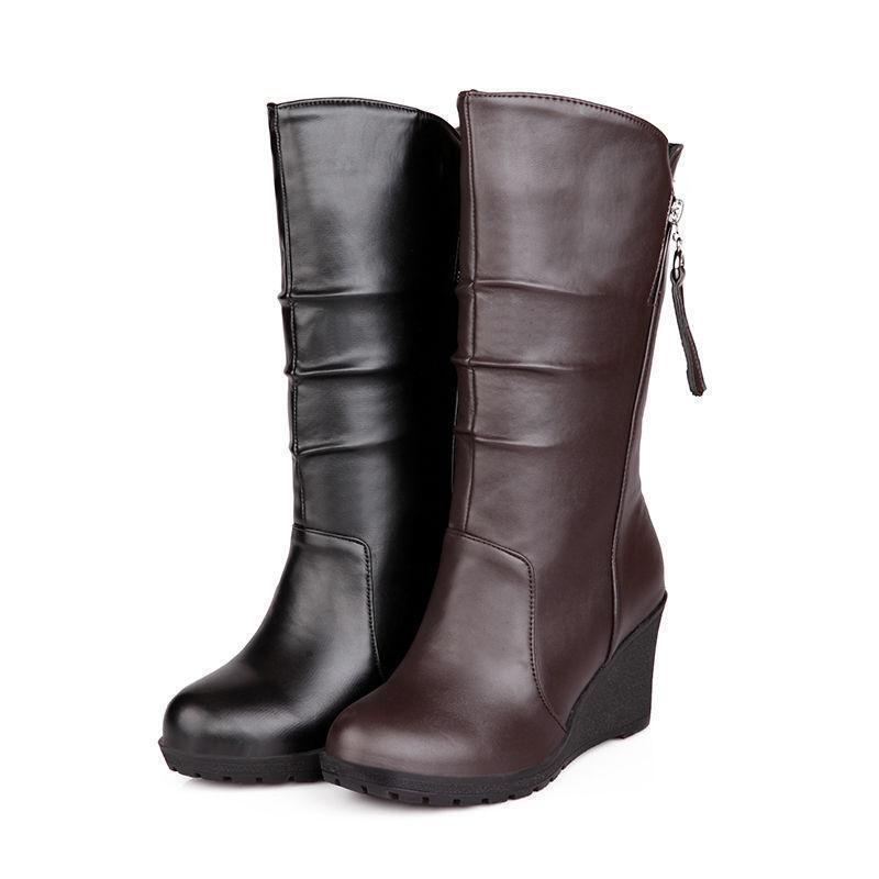 HOT Women Ladies Synthetic Leather shoes Wedge Heels Side Mid Calf Boots UK Size