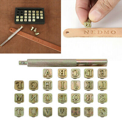 Leather Stamping Tool Set Metal Pattern Leather Embossing Tools Handmade Art Sculpture Punching Stamps Designs 1 Stamping Handle 32 PCS Leather Stamps Patterns