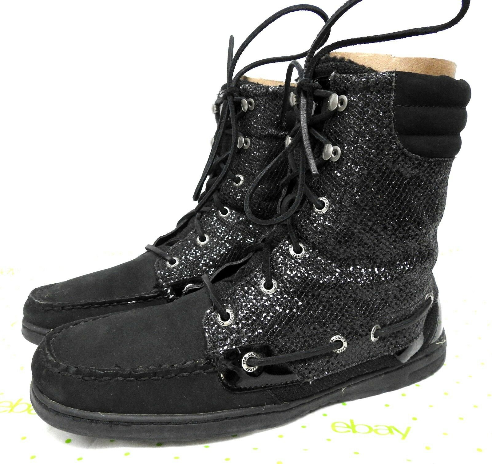Sperry Women's 10 M Top Sider Hikerfish Black Glitter Boat Boots #9173683