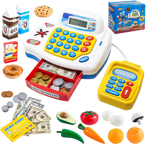 Toy Cash Register Shopping Pretend Play Money Machine with Dual Languages Card