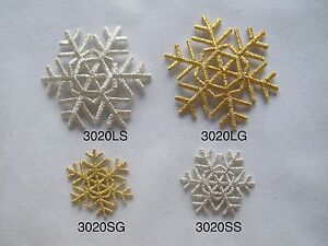 3020-Dorado-Copo-de-Nieve-Plata-Nieve-Bordado-Termoadhesivo-Parche-Aplique